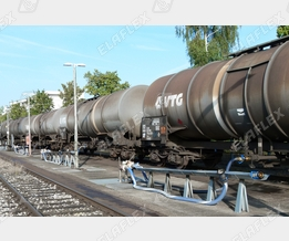 Rail tanker unloading of petroleum based products